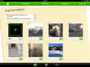 Photos of landforms in the community exploration done in Field Day PBL app